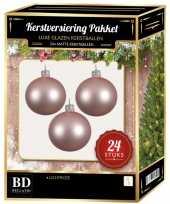 24 stuks mat glazen kerstballen pakket lichtroze 6 en 8 cm