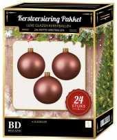 24 stuks mat glazen kerstballen pakket oudroze 6 en 8 cm