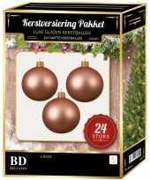 24 stuks mat glazen kerstballen pakket roze 6 en 8 cm