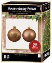 24 stuks mix glazen kerstballen pakket donker parel 6 en 8 cm