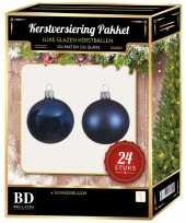 24 stuks mix glazen kerstballen pakket donkerblauw 6 en 8 cm