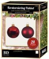 24 stuks mix glazen kerstballen pakket donkerrood 6 en 8 cm