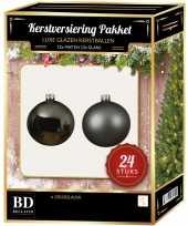 24 stuks mix glazen kerstballen pakket grijsblauw 6 en 8 cm