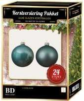 24 stuks mix glazen kerstballen pakket ijsblauw 6 en 8 cm