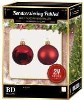 24 stuks mix glazen kerstballen pakket kerst rood 6 en 8 cm