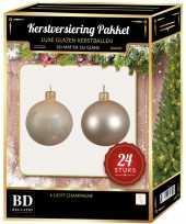 24 stuks mix glazen kerstballen pakket licht parel 6 en 8 cm