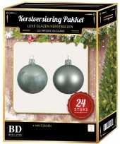 24 stuks mix glazen kerstballen pakket mintgroen 6 en 8 cm