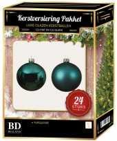 24 stuks mix glazen kerstballen pakket turquoise blauw 6 en 8 cm