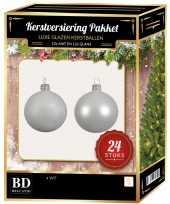 24 stuks mix glazen kerstballen pakket winter wit 6 en 8 cm