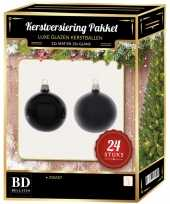 24 stuks mix glazen kerstballen pakket zwart 6 en 8 cm