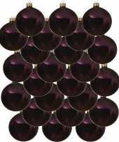 24x aubergine paarse kerstballen 8 cm glanzende glas kerstversiering
