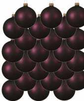 24x aubergine paarse kerstballen 8 cm matte glas kerstversiering
