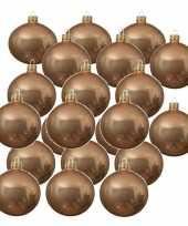 24x donker parel champagne kerstballen 6 cm glanzende glas kerstversiering