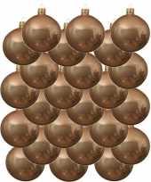 24x donker parel champagne kerstballen 8 cm glanzende glas kerstversiering