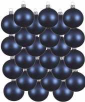 24x donkerblauwe kerstballen 6 cm matte glas kerstversiering