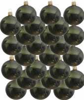 24x donkergroene kerstballen 6 cm glanzende glas kerstversiering