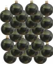 24x donkergroene kerstballen 8 cm glanzende glas kerstversiering
