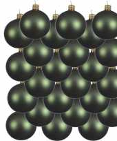 24x donkergroene kerstballen 8 cm matte glas kerstversiering