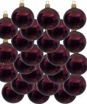24x donkerrode kerstballen 6 cm glanzende glas kerstversiering
