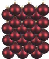 24x donkerrode kerstballen 6 cm matte glas kerstversiering