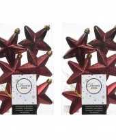 24x donkerrode kerstballen 7 cm glanzend matte glitter kunststof plastic kerstversiering