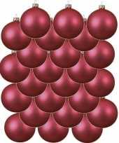24x fuchsia roze kerstballen 6 cm matte glas kerstversiering