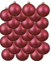 24x fuchsia roze kerstballen 8 cm matte glas kerstversiering