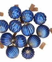 24x glazen kerstballen blauw met goud 6 cm