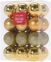 24x gouden kerstballen 3 cm glanzende matte glitters kunststof kerstversiering