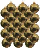 24x gouden kerstballen 6 cm glanzende glas kerstversiering
