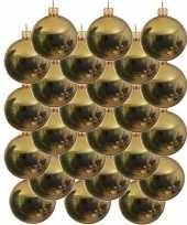 24x gouden kerstballen 8 cm glanzende glas kerstversiering