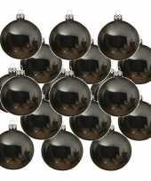 24x grijsblauwe kerstballen 6 cm glanzende glas kerstversiering
