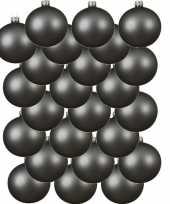 24x grijsblauwe kerstballen 6 cm matte glas kerstversiering
