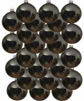 24x grijsblauwe kerstballen 8 cm glanzende glas kerstversiering