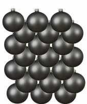 24x grijsblauwe kerstballen 8 cm matte glas kerstversiering