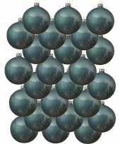 24x ijsblauwe kerstballen 8 cm glanzende glas kerstversiering