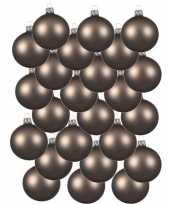 24x kasjmier bruine kerstballen 6 cm matte glas kerstversiering