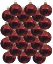 24x kerst rode kerstballen 8 cm glanzende glas kerstversiering