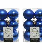 24x kobalt blauwe kerstballen 6 cm kunststof mat glans
