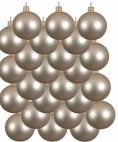 24x licht parel champagne kerstballen 6 cm matte glas kerstversiering