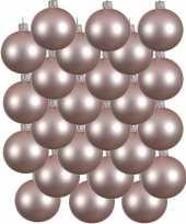 24x lichtroze kerstballen 6 cm matte glas kerstversiering