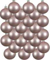 24x lichtroze kerstballen 8 cm matte glas kerstversiering
