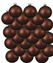 24x mahonie bruine kerstballen 6 cm matte glas kerstversiering