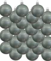 24x mintgroene kerstballen 6 cm glanzende glas kerstversiering