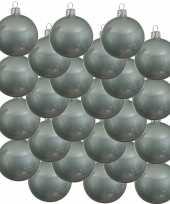 24x mintgroene kerstballen 8 cm glanzende glas kerstversiering