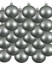 24x mintgroene kerstballen 8 cm matte glas kerstversiering