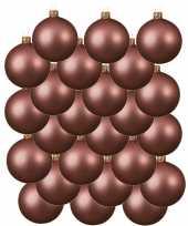 24x oud roze kerstballen 6 cm matte glas kerstversiering