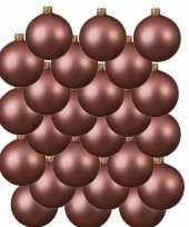 24x oud roze kerstballen 8 cm matte glas kerstversiering