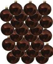 24x roodbruine kerstballen 8 cm glanzende glas kerstversiering