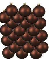 24x roodbruine kerstballen 8 cm matte glas kerstversiering